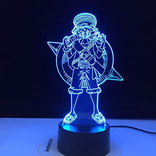 (Nur 1) Ruffy ein Affe D. Ruffy (Ruffy Figure) Kinder Nachtlicht LED-Berührungssensor 3D-Licht Nachtlicht wird für die Inneneinrichtung verwendet