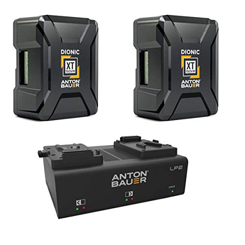 Anton Bauer 2 Pack Dionic XT150 156Wh V-Mount Lithium-Ion Battery LP2 Low Profile Dual V-Mount Battery PowerCharger with LED Display
