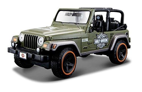 Maisto Jeep Wrangler Rubicon: getrouw modelauto 1:24, deuren en motorkap te openen, klaar model, 14 cm, groen (532190)