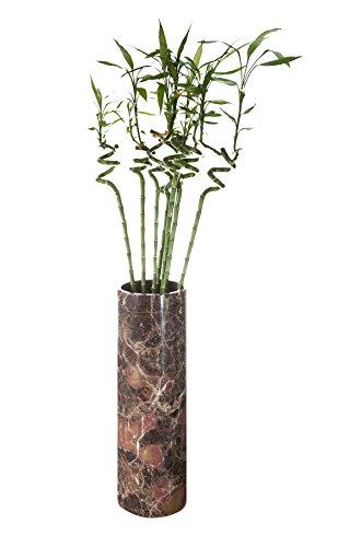 Yuchengstone Vase rond en marbre massif à poser au sol ou sur pied - Marbre coloré rare - Pièce unique en naturel - Dimensions : Ø/H 19/59 cm - Poids : env. 20 kg