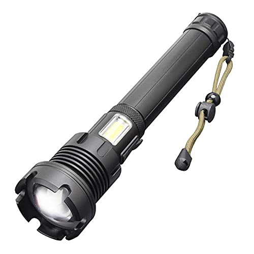 yunyun Linternas Profesionales,Enfoque Telescópico Linterna Militar,USB Recargable Linternas Potentes,Impermeable con Cordón Mini Linterna Led