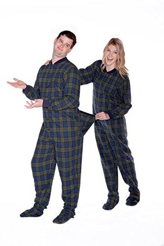 BIG FEET PAJAMA CO. Marine Blau und Grün Karierter Baumwollflanell Erwachsene Onesie Fußpyjamas mit Butt Flap hinteren Klappe für Männer & Frauen
