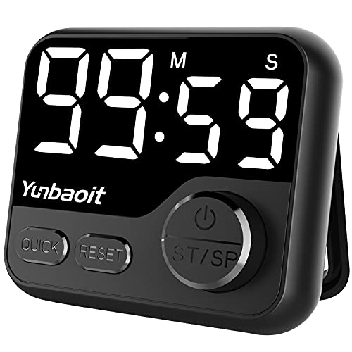 Timers, Kitchen Timer for Cooking, Yunbaoit LED Digital Timer for Kids, Magnetic Countdown Timer Knob Quickset Stopwatch Clock Timer for Classroom Teachers, Study, Exercise, Baking(Black)