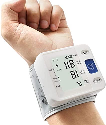 Automatischer Handgelenk Blutdruckmessgerät: Einstellbare Manschette + 2AAA Batterie und Aufbewahrungstasche - Unregelmäßiger Herzschlagdetektor & 99 Messspeicherfunktion & großer LCD-Weiß