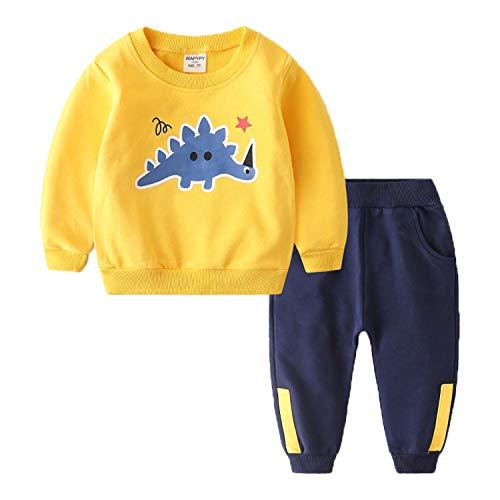 Coralup - Juego de ropa de algodón de manga larga para niños y niñas de 18 meses a 8 años