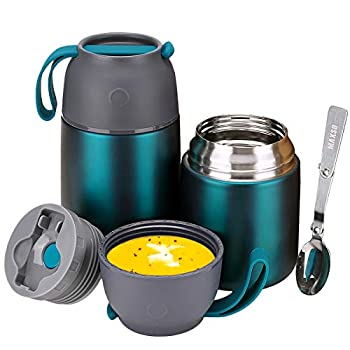 Thermos Food Jar for Hot & Cold Food for Kids Adult 24 oz and 17 oz Set Soup Thermos Hot Food Containers for Lunch 2 Pack Vacuum Insulated Food Jar with Spoon