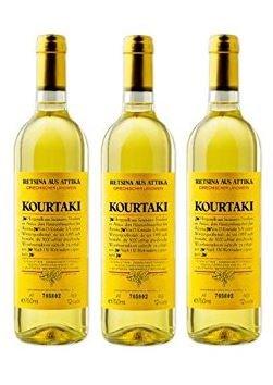 3x 750 ml Retsina Kourtaki Spar Set 12% gehartzter Weißwein Weiß Wein aus Griechenland Attika Savatiao + 1 Probiersachet Olivenöl 1ml aus Kreta