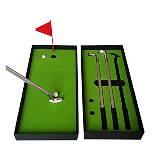 Un Conjunto de3 Golf Pen Mini escritorio pluma de bola de golf Juego de regalo Con el green, bandera, 3 colores modelos de metal clubs de golf Bolígrafos y 2 bolas