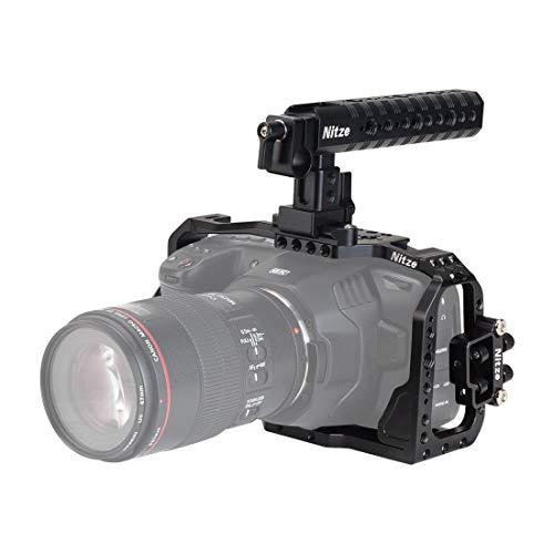 Nitze BMPCC 4K/6K Camera Cage Kit for Blackmagic Pocket Cinema Camera 4K/6K with NATO Top Handle - BHT-B6K