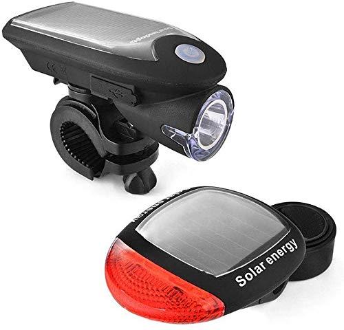 GCDN Fahrradlicht Set Fahrrad Scheinwerfer und Rücklicht Kombo, USB Aufladbar Wasserfest Solar LED Fahrrad Front Licht und Hinten Licht mit 90 Grad Drehbar Halterung für Außen Fahrrad Sicherheit