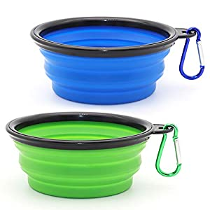 SLSON Collapsible Dog Bowl, 2 Pack Collapsible Dog Water Bowls for Cats Dogs, Portable Pet Feeding Watering Dish for Walking Parking Traveling with 2 Carabiners