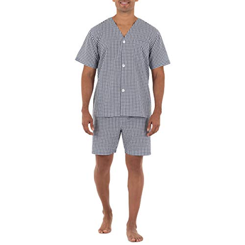 Fruit of the Loom Men's Broadcloth Short Sleeve Pajama Set, Navy Check, Medium