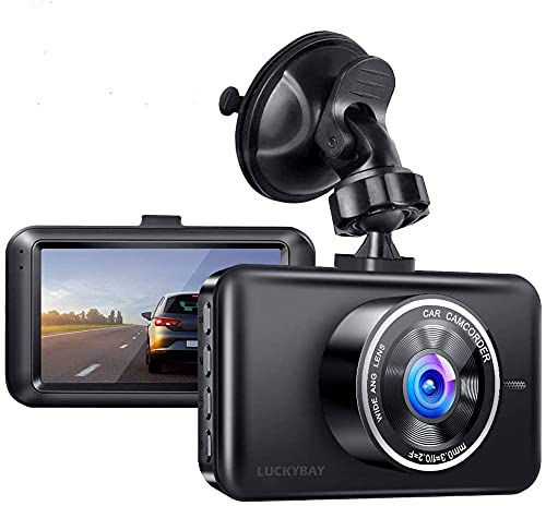 Luckybay Dash Cam 1080P FHD DVR Car Driving Recorder 3 Inch LCD Screen 170° Wide Angle, G-Sensor, WDR, Parking Monitor, Front Loop Recording, Motion Detection