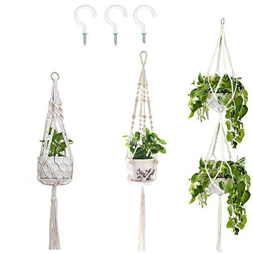 Lytrek 3 Pack Makramee Pflanzenhalter hängen Pflanzgefäß für Blumentopfhalter im Innenbereich Boho Home Decor + 3 PCS Haken-Baumwollseil (4 Beine, 3 Größen)