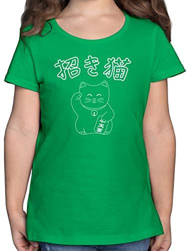 Tiermotive Kind - Winkekatze- Japanisch - 128 (7/8 Jahre) - Grün - Glück - F131K - Mädchen Kinder T-Shirt