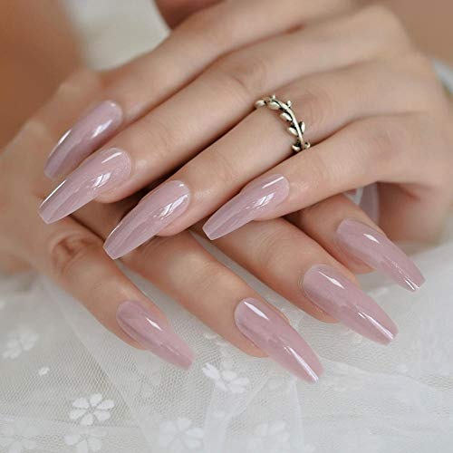 RosyBrown Long Daily False Nail Coffin Flat Soild Color Natural Full Cover Fingernails Pearlescent Girl Daily Nail Tips