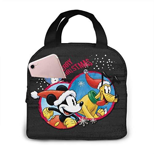 Mickey Minnie Snow Bolsa de almuerzo portátil aislada para mujeres y hombres reutilizable bolsa de playa