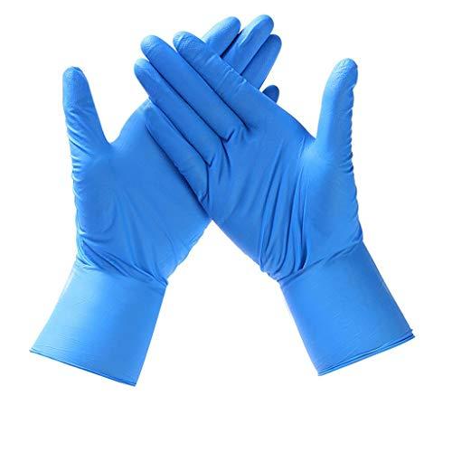 Guantes Desechable Nitrilo sin polvo, en Small, Medium, Large Caja 100 Unidades (S, Azul)