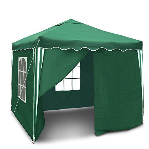 JOM Gartenpavillon, Wasserdicht, Falt-Pavillon Bristol, mit Extra Beschichtung, mit Seitenwänden und Tasche, 3 x 3 m, Grün