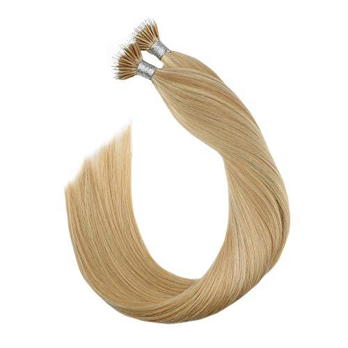 [5% Rabatt für Heißen Sommer] Ugeat Nano Ring Tip Hair Extensions Highlight Aschblond mit Bleichblond #P18/613 1 Gramm Extensions mit Ring Echthaar Bondings Cold Fusion Haarverlangerung 50GR 16zoll