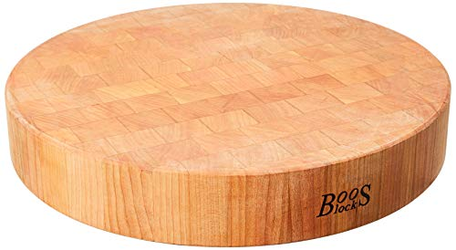 John Boos Block CHY-CCB183-R Classic Collection Cherry Wood End Grain Round Chopping Block, 18 Inches Round x 3 Inches