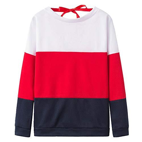 U/A Casual Panel de Contraste Jersey Cuello Redondo Manga Larga Suelto Top para Mujeres Rojo rosso XL
