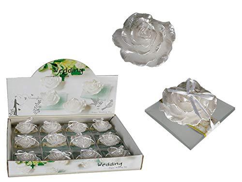 Ideal Trend 12 Weiße Schwimmkerzen auf Glasteller Rose Hochzeits Kerzen Teelicht Blumenkerze