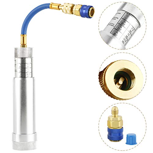 HighFree A/C Oil and Dye Injector with Snap Quick Coupler, 2 OZ Hand Turn Screw-in Air Conditioning Coolant Filling Tube Injection Tool with 1/4 inch SAE Connector for R410A, R134A, R22 and R12