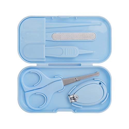 Baby Maniküre Set 5 in 1 Baby Nagelpflege Set mit Nagelknipser, Nagelschere, Nagelfeile, Nasenpinzette und Earpick Baby-Nagel-Set für Kinder und Neugeborene (Bleu)