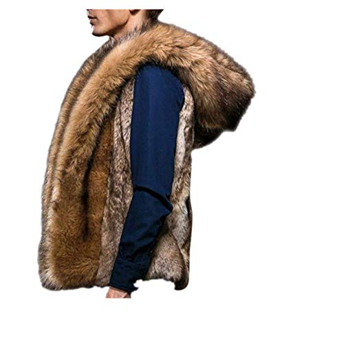 Moda invierno chaqueta hombres chaleco de piel nueva gruesa capa de piel con capucha hombres sin mangas de piel sintética cuello ropa abrigo chalecos