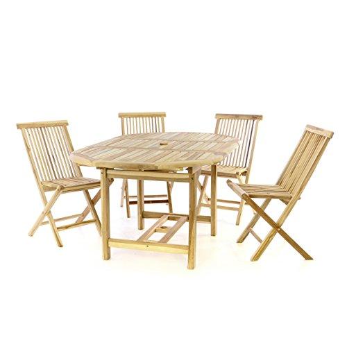 Divero Gartenmöbel-Set Terrassenmöbel-Garnitur Sitzgruppe – Esstisch 120/170 cm ausziehbar & 4 x Holzstuhl klappbar leicht – Teakholz massiv Natur