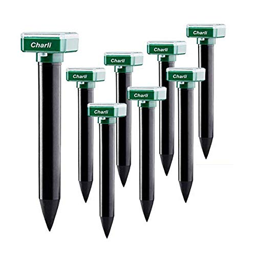 Charli New 8X Solar Sonic Mole Repellent Groundhog Repeller Gopher Deterrent Vole Chaser Snake Repellent Spikes Traps Rodents No Killing - Remove Burrowing Rodents (8) (8)