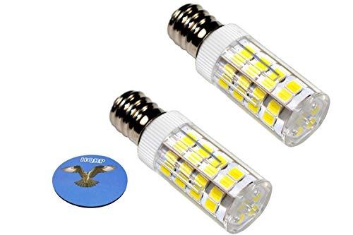 HQRP 2 piezas E12 220V Bombilla LED Blanco Frio compatible con Whirlpool 22002263 Bombilla del Refrigerador / Secadora Reemplazo, HQRP Portavasos
