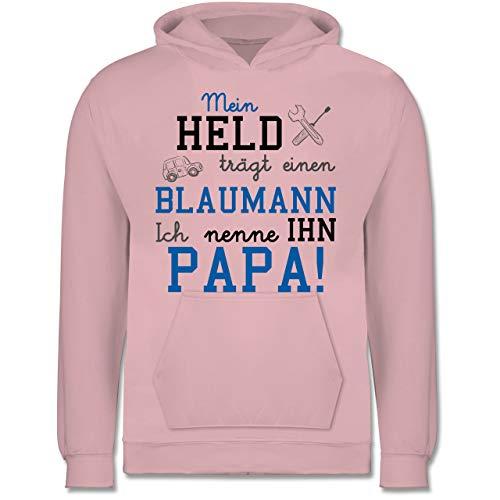 Shirtracer Sprüche Kind - Mein Held trägt einen Blaumann - 152 (12/13 Jahre) - Hellrosa - blaumann rosa - JH001K - Kinder Hoodie