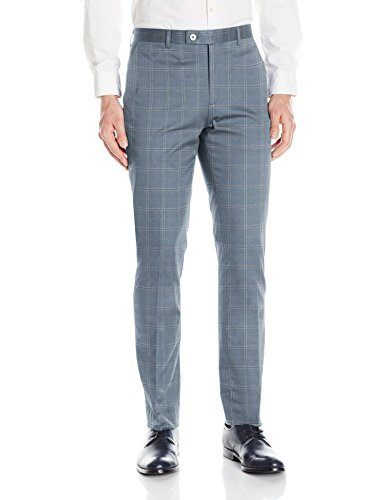 Paisley & Gray Men's Flat Front Slim Fit Hemmed Suit Separate Pant, Blue Windowpane, 33W/32L
