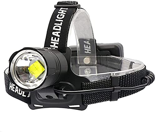 HXJZJ Faros LED de 8000 Lúmenes Faros de Camping para Pesca Faros de Linterna de Alta Potencia Linternas con Zoom con Entrada/Salida USB Linterna de Batería 18650