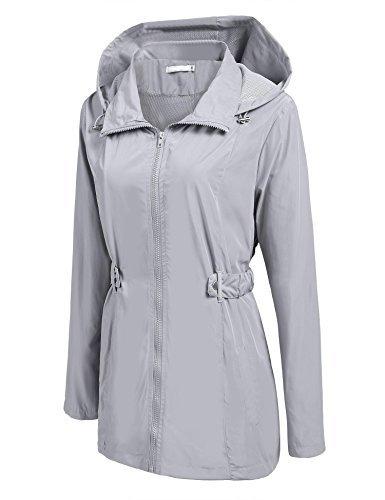 Fanala Women Lightweight Waterproof Jacket Hooded Outdoor Windbreaker Rain coats Grey/XXL