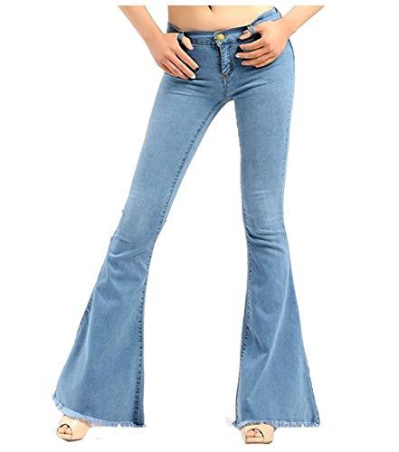 XinXinFeiEr Estiramiento Pantalones Vaqueros Elásticos Femeninos Pantalones De Campana Delgado Borla Delgada Casual (Color : Light Blue, Size : 4XL)