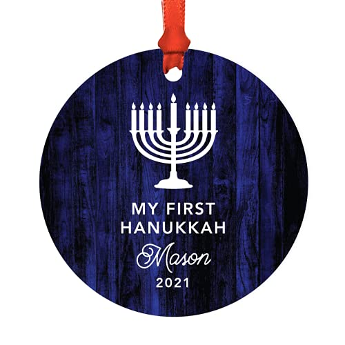 Andaz Press Personalized Baby's 1st Hanukkah Metal Ornament, My First Hanukkah, Zara 2021, Navy Blue Menorah, 1-Pack, Includes Ribbon and Gift Bag, Custom Name