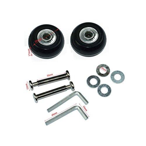 Lovinstar - 1 par de ruedas de repuesto para maleta de equipaje OD 35 (35 mm x 17 mm x 6 mm) ejes 35 juego de reparación para maleta de equipaje