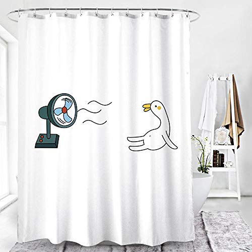 Duschvorhang 180X180 Weiße Süße Ente Duschvorhang Anti-Schimmel & Wasserabweisend Shower Curtain, Duschvorhänge mit 12 Haken,Duschvorhang Textil Waschbar,Polyester