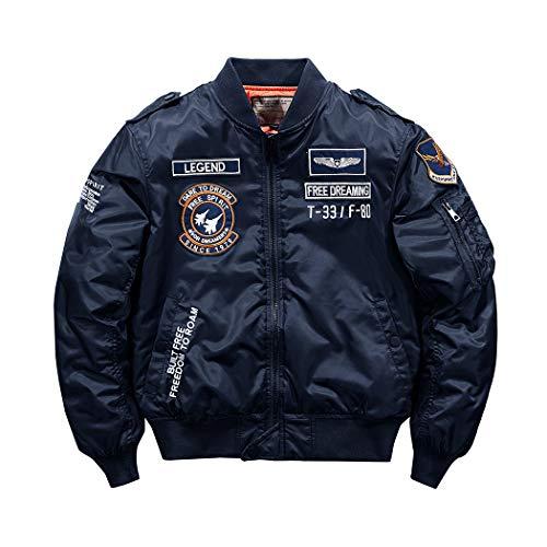 SemiAugust(セミオーガスト)ジャケット メンズ MA-1 フライトジャケット 中綿 ジャンパー 刺繍 ワッペン ミリタリージャケット 防寒 エムエーワン ブルー 4XL