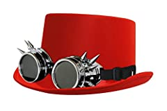 BLACK VICTORIAN TOP HAT WITH BLACK LENSED GOGGLES INCLUDES: RED SATIN TOP HAT & SILVER SPIKED GOGGLES WITH BLACK LENSES SIZE: 58 CM - ONE SIZE FITS MOST *PLEASE NOTE: ITEMS ON THIS LISTING ARE EXCLUSIVE TO ILOVEFANCYDRESS, A REGISTERED TRADEMARK - OT...