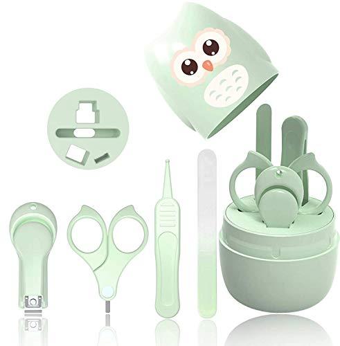 Baby-Nagel-Kit, 4-in-1-Baby-Maniküre-Pflegeset, Baby-Nagelknipser, Schere, Nagelfeile und Nasenpinzette für Neugeborene, Kleinkinder, Kinder, Zehen und Fingernägel (grün)