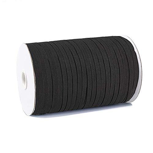 100 Yards Elastic String for Masks, Elastic Bands for Sewing 1/4 inch, Elastic Cord Thread, DIY Mask Making Supplies Black