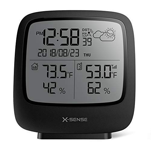 X-Sense Estación Meteorológica Inalámbrica Alcance Inalámbrico De 150 m, Pantalla Grande LCD Retroiluminado, Reloj Atómico, Monitor De Temperatura Y Humedad Precisos, Pronóstico del Tiempo