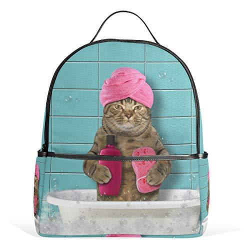 Rucksack Daypack Badewanne Katze Lightweight Canvas Book Bag für Jungen Mädchen Teens Frauen