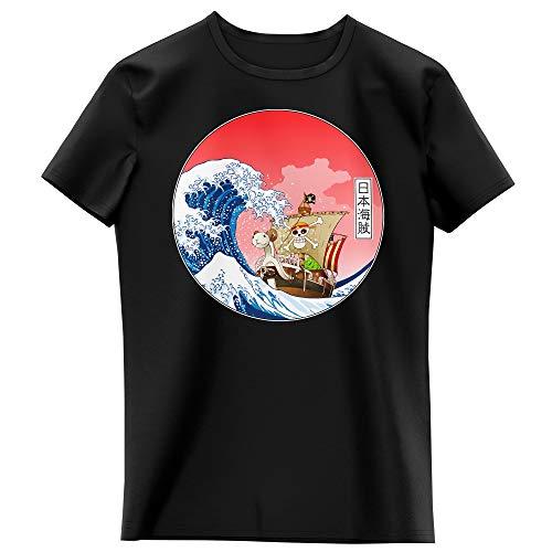 T-Shirt Enfant Fille Noir Parodie One Piece - La Grande Vague de Kanagawa et Le Vogue Merry - Pirates en mer du Japon. : (T-Shirt Enfant de qualité Premium de Taille 7-8 Ans - imprimé en France)