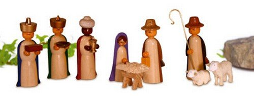 Miniaturen Figuren, farbig lasiert 4,5cm NEU Miniatur Weihnachtsfigur Erzgebirge