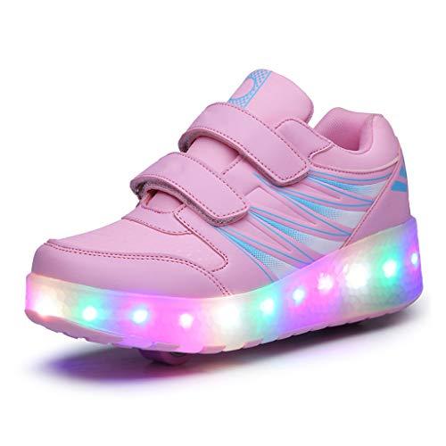 LWH Pattini A Rotelle,Scarpe Deformate,Luce Impermeabile A LED,Suola in TPR,Tomaia in Pelle Traspirante,Scarpe Sportive Multifunzionali Adulto/Bambino